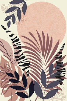 Composition of abstract shapes and botanical elements style of minimalism hand drawn tropical