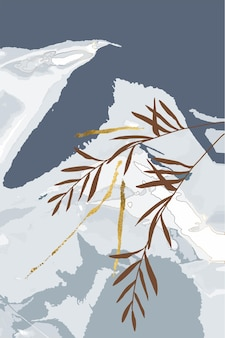 Composition of abstract shapes leaves gold lines winter grey background minimalism hand drawn