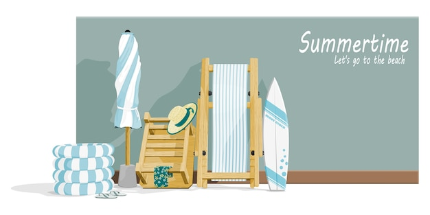 Composition of beach accessories
