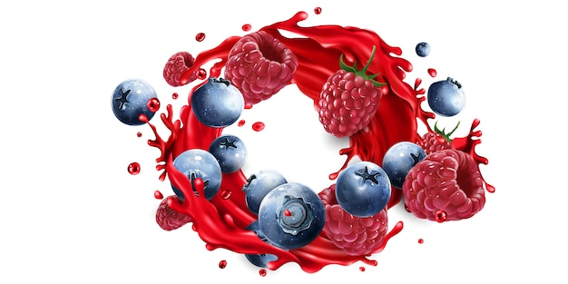 Composition of blueberries and raspberries in a juice splash.