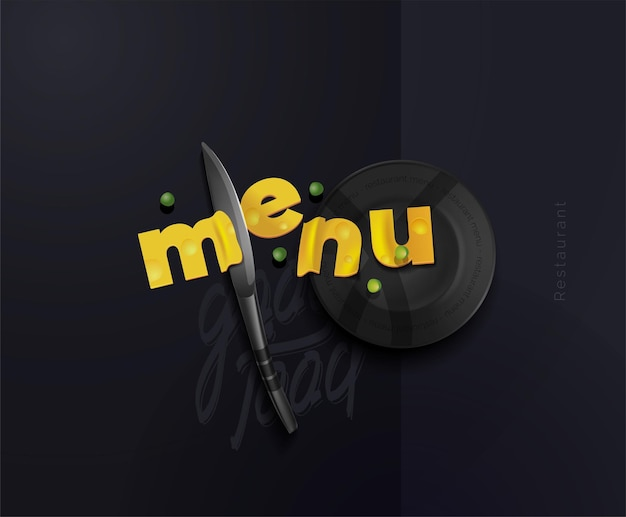 A composition of cheese slices in the form of letters of a steel knife and a plate modern poster for the restaurant conceptual menu for a restaurant cafe vector illustration of a top view