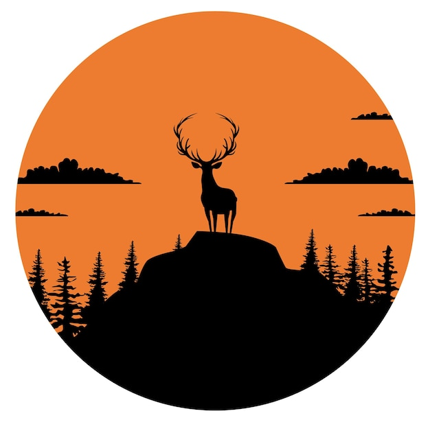 Composition of a circle an with elk staying on the top of the mountain