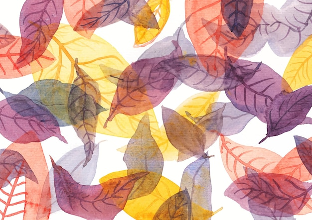 Composition and combination with leafs by watercolor