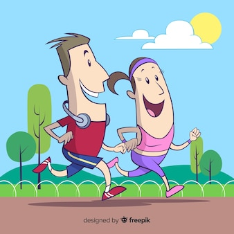 Composition of couple running in the park