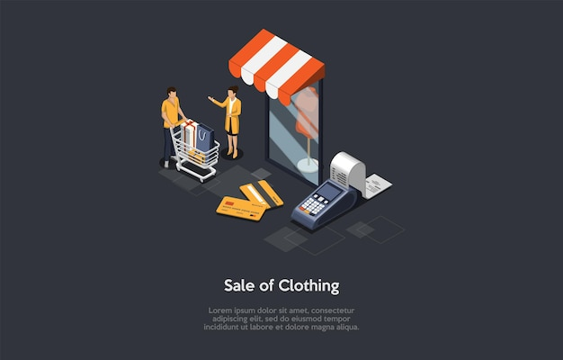 Composition on dark background with infographics. isometric vector illustration, cartoon 3d style objects. sale of clothing, mobile application or website. dress store commerce. customer and worker.