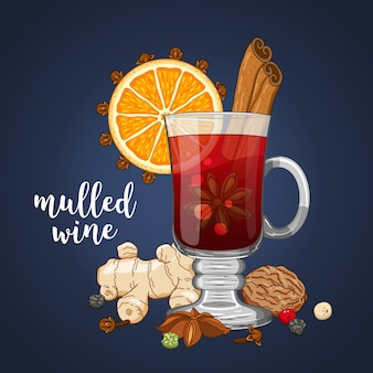 Composition on dark with mulled wine