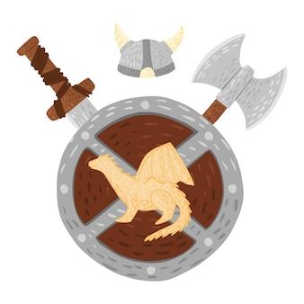 白い背景の上のヘルメット、剣、斧と盾の構成ドラゴン。漫画かわいいイラスト。