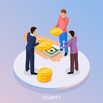 Composition of fundraiser characters and human hand with coins and banknotes