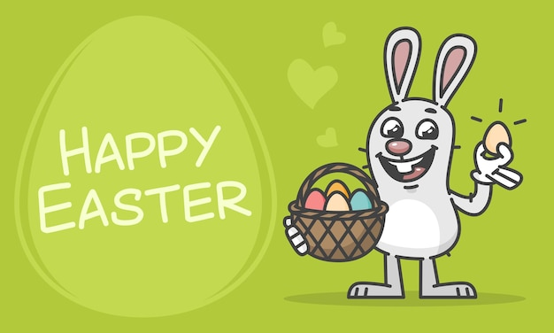 Composition happy easter bunny holding basket and egg. vector illustration. mascot character.