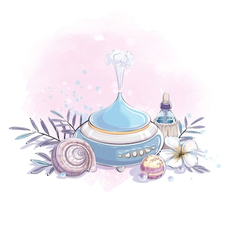 Composition of a humidifier, a bubble with essential oil, a plumeria flower and a seashell.