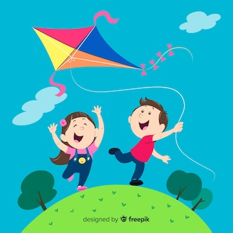 Composition of kids flying a paper kite Premium Vector