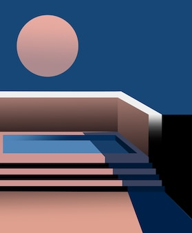 空に満月がある屋上にあるプールの構成