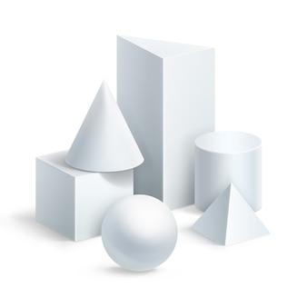 基本的な幾何学的形状の構成。白い背景の上のボール、立方体、円柱、プリズム、ピラミッド、円錐形の図