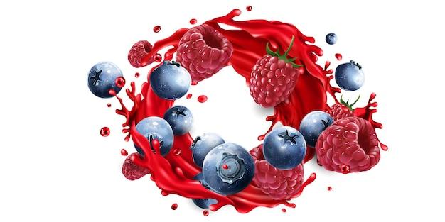 ジュースのスプラッシュのブルーベリーとラズベリーの組成物。