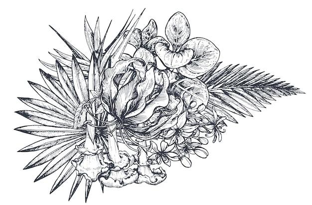手描きの黒と白の熱帯の花、ヤシの葉、ジャングルの植物、楽園の花束の構成。スケッチ風の美しい花のイラスト