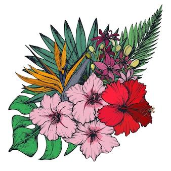 手描きのカラフルな熱帯の花、ヤシの葉、ジャングルの植物、楽園の花束の構成。白い背景で隔離の美しい花のイラスト