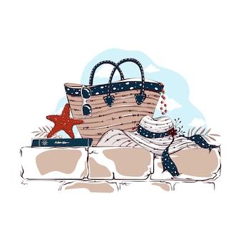 Состав предметов летнего отдыха на море. пляжная сумка, солнцезащитные очки, морская звезда, книга и соломенная шляпа от солнца. рисованной иллюстрации.