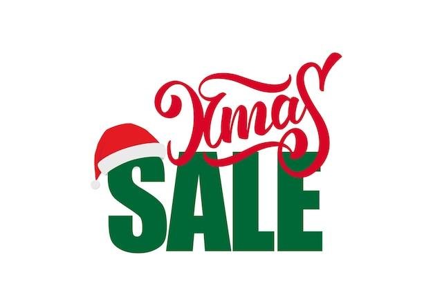 크리스마스 판매 및 흰색 배경에 고립 된 산타 클로스 모자와 글자의 구성