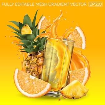 オレンジ、パイナップル、フルーツジュースのダイナミックなスプラッシュのグラスの構成。