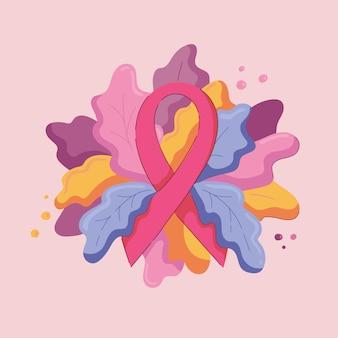 ピンクのリボンとモダンな緑の葉のコンポジション。青、紫、黄色の葉、秋のテーマ。10月の乳がん啓発月間のシンボル。色付きの背景のイラスト