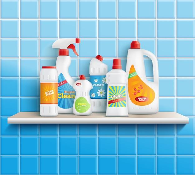 Композиция из реалистичных стиральных бутылок на полке с ванной туалетом и зеркалом с настенной плиткой векторная иллюстрация