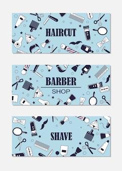 理髪店のための一連のアイコンの構成。