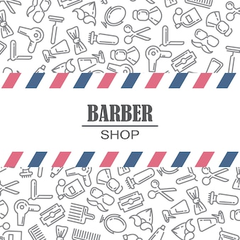 Composition of the set of icons for the Barber shop.
