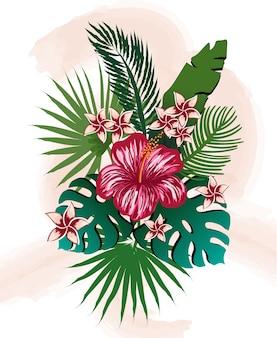熱帯の花と葉の組成物。ハイビスカス、フランジパニ、パーム、モンステラ