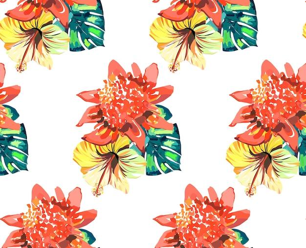 Состав тропических красно-розовых желтых цветов и зеленых пальмовых листьев