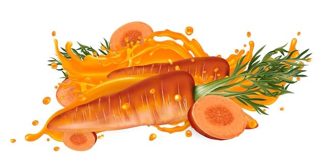 Композиция из целой и нарезанной моркови в сок всплеск.