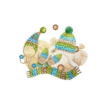 毛糸、羊毛の服、ミトン、スカーフ、ポンポン付きキャップ、ボタンの構成。編み物水彩イラスト