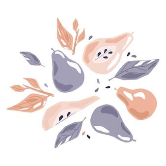 흰색 바탕에 컴포지션 배입니다. 배 전체, 절반, 슬라이스, 씨앗, 분홍색, 보라색, 잎, 잎사귀와 나뭇가지 스케치 스칸디나비아 손으로 스타일 두들 벡터 삽화를 그립니다.