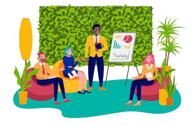 Люди композиции общаются в офисе, менеджер отчета работниками, иллюстрация стиля, на белом. красочный интерьер, успешный лидер-бизнесмен, дискуссионный проект.