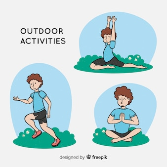 Composition of people doing outdoors activities