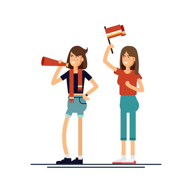 Состав людей с флагами составляют иллюстрации Premium векторы