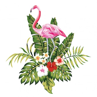 Composition of pink flamingo tropical leaves and flowers