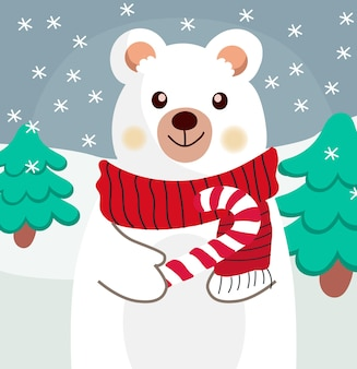 Composition of a polar bear with red scarf and a candy cane in his paw.
