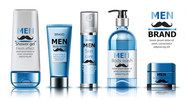 Composition of shower gel and moisturizing lotion for men