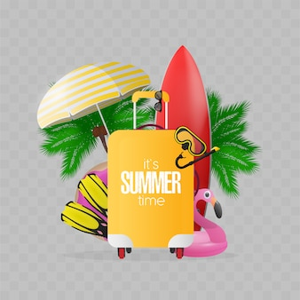 Composition on the theme of summer time. red surfboard, yellow suitcase for tourism, flippers, swimming mask, goggles, palm trees, umbrella, rubber rings for swimming.