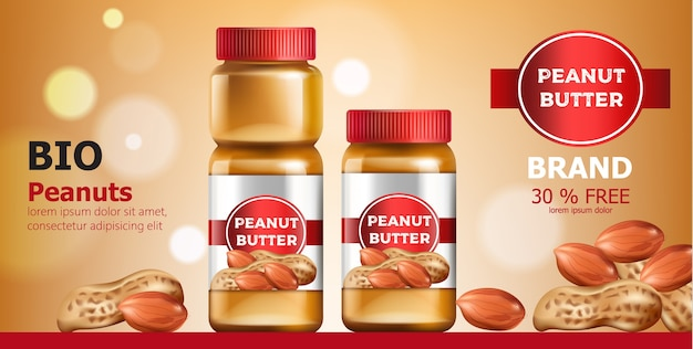 Composition of three jars with peanut butter