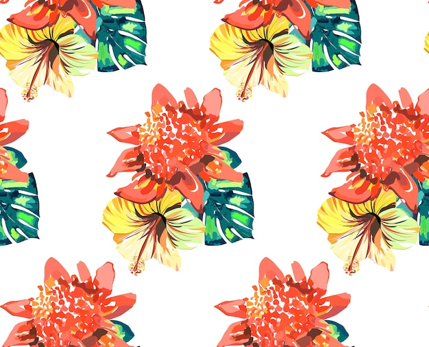Composition of tropical red pink yellow flowers and green palms leaves