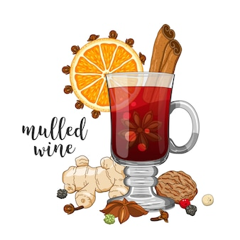 Composition on white with mulled wine