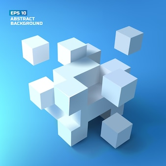 グラデーションの背景に複雑な構造を形成する影のある三次元の白い立方体の束で構成