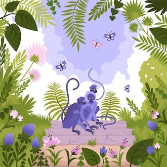 정글의 나무에 앉아 있는 원숭이 그룹과 함께 구성