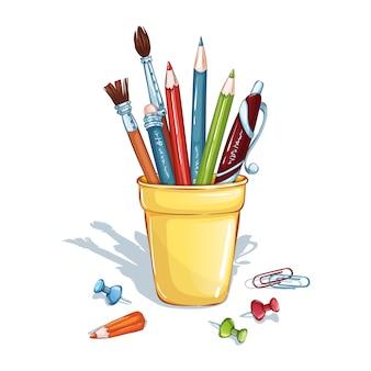 鉛筆、ペン、ブラシ、画鋲、ペーパークリップを備えたスタンド付きの構成。学用品。