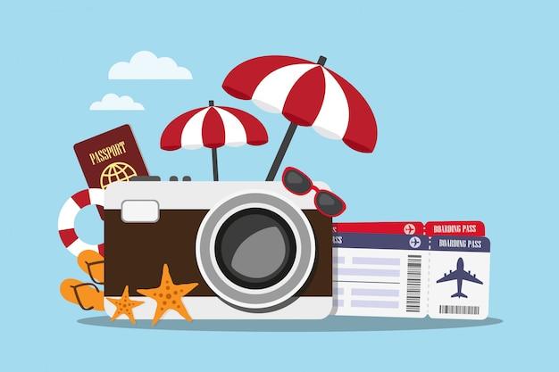 ヴィンテージカメラとアクセサリー旅行の構成