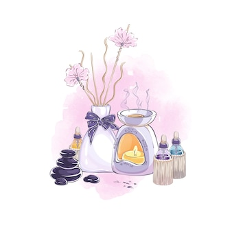 Composition with accessories for aromatherapy, home health and beauty care.