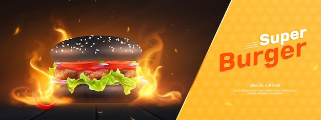 Composition with burning flame burger illustration