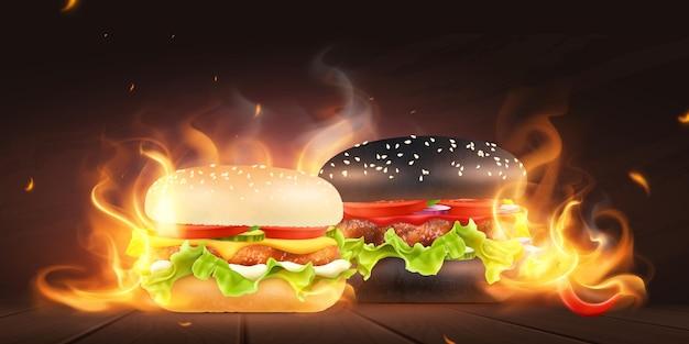 Composition with burning flame cheeseburger and hamburger illustration