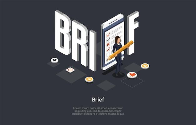 文字とテキストによる構成。等尺性ベクトルイラスト、漫画の3dスタイル。簡単な概念。実業家、ビッグレター、インフォグラフィック。ビジネストピックの概要、会社の会議、ブレーンストーミング